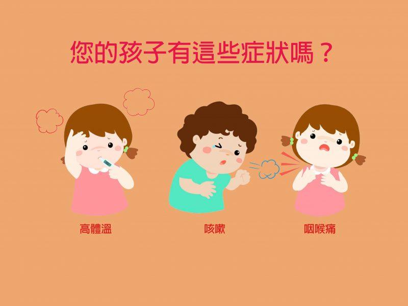 您的孩子不舒服嗎? 高體溫 咳嗽 咽喉痛